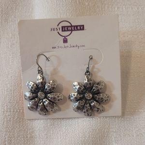 Just Jewelry TriFlower SilverToned Dangle Earrings